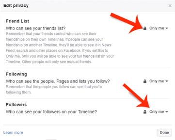3 options to hide fb friend list
